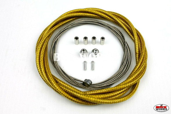 BMX Brake Cable Front & Rear Kit Braided Gold