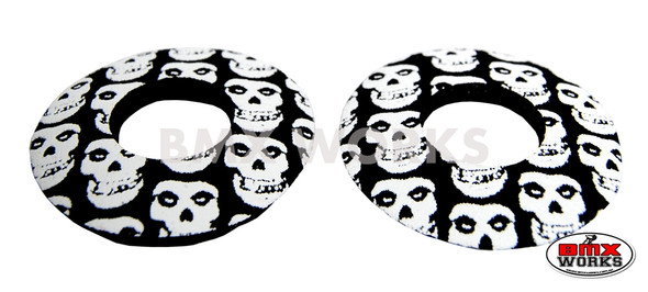 ProBMX Flite Style BMX Bicycle Foam Grip Donuts - Skulls Black & White