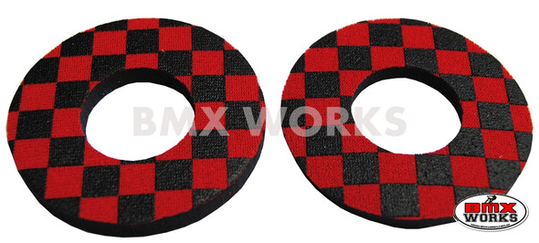 ProBMX Flite Style BMX Bicycle Foam Grip Donuts - Checker Black & Red