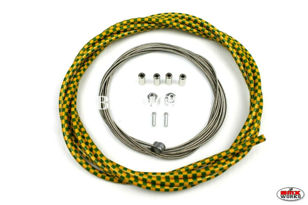 BMX Brake Cable Front & Rear Kit Checker Green & Yellow