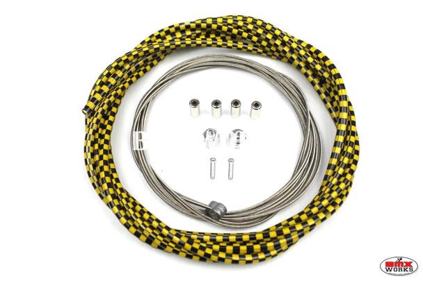BMX Brake Cable Front & Rear Kit Checker Black & Yellow
