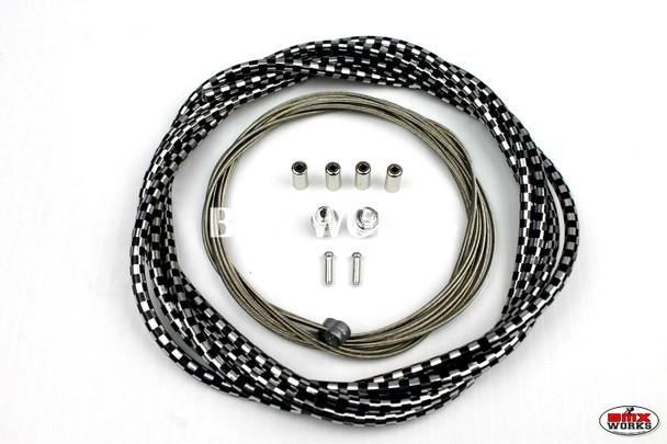 BMX Brake Cable Front & Rear Kit Checker Black & Chrome