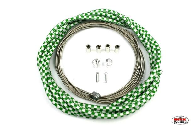 BMX Brake Cable Front & Rear Kit Checker Green & White