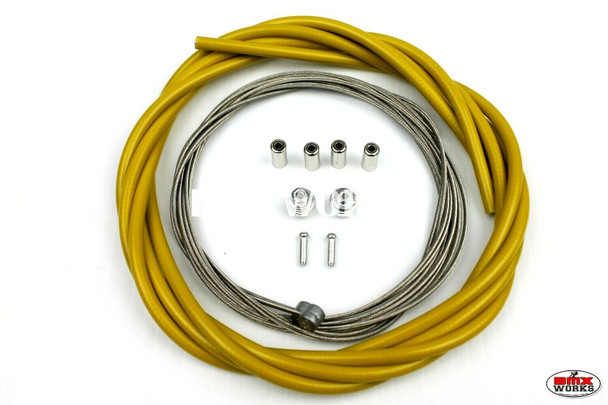 BMX Brake Cable Front & Rear Kit Dark Yellow