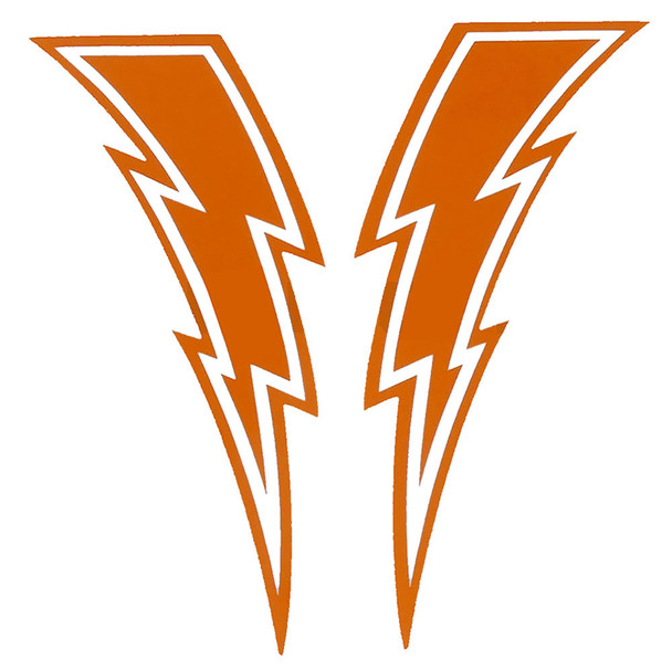 Lightning Bolt Decals - Sold In Pairs - Orange & White