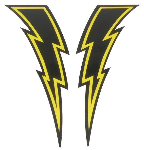Lightning Bolt Decals - Sold In Pairs - Black & Yellow