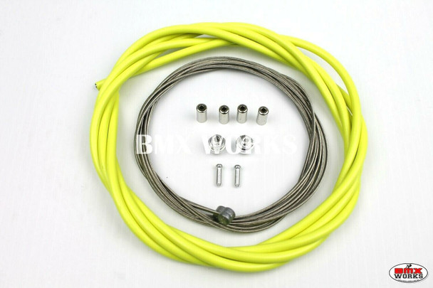 BMX Brake Cable Front & Rear Kit Highlight Yellow