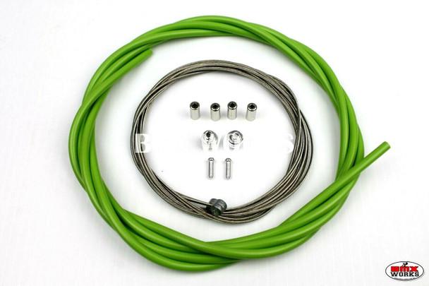 BMX Brake Cable Front & Rear Kit Lite Green