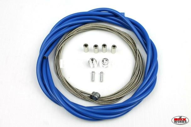 BMX Brake Cable Front & Rear Kit Mid Blue