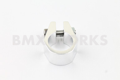 """1/"""" SILVER ANODIZED Old school Tuf Neck style BMX bicycle seat clamp 25.4mm"""