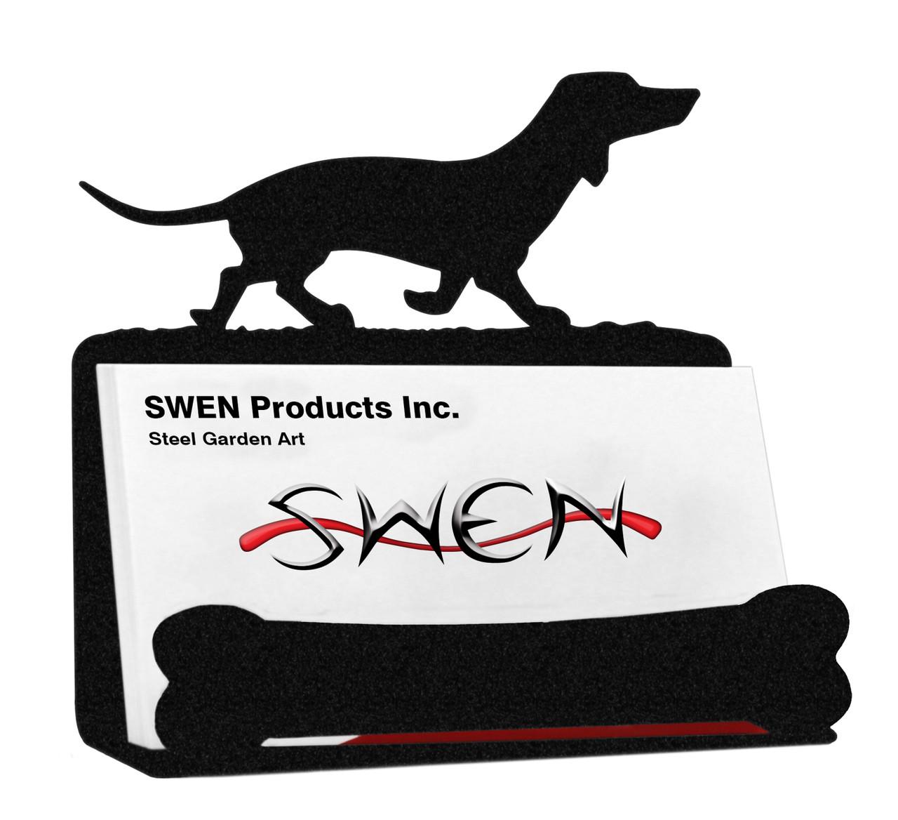 SWEN Products SALUKI Dog Black Metal Business Card Holder