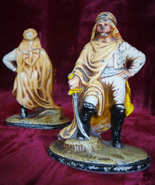 Arabian Pirate cold painted iron bookends