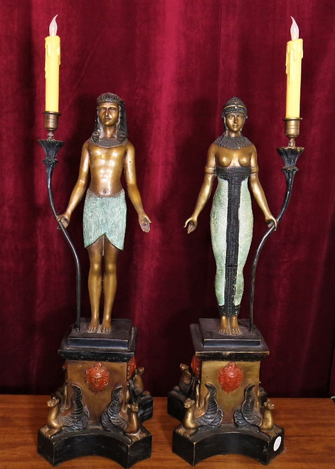 Bronze Egyptian Candle Holders