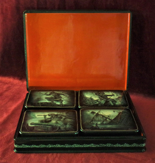 Pirate Shipwreck Russian Hand Painted Lacquered Boxes - 5 Pieces