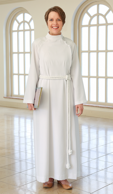White robe with rope cincture