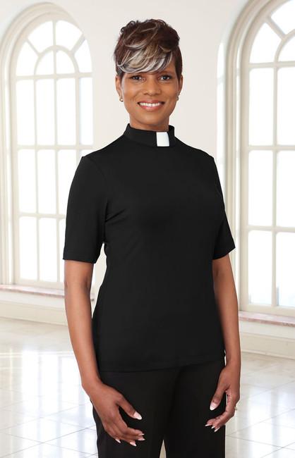 Short Sleeve Dressy Blouse (Tab Collar)