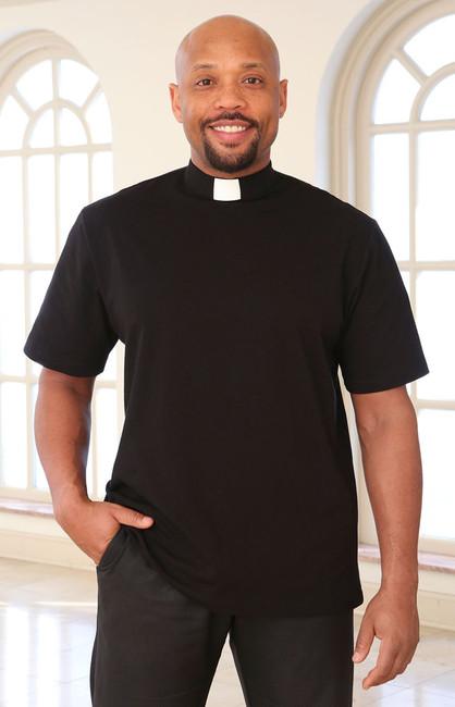 Men's Knit Clergy Shirt (Tab Collar)