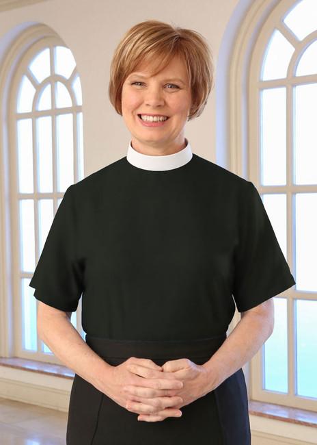 Black Neckband Clergy Blouse