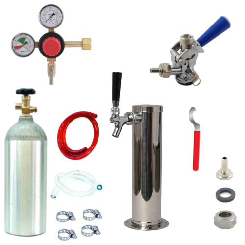 Kegerator Conversion Kit with 1 Faucet Tower & Sankey Couplers