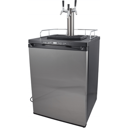 KOMOS Kegerator with Stainless Steel Intertap Faucets - 3 Tap