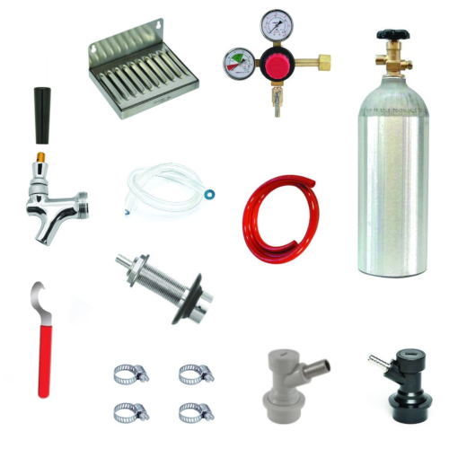 Refrigerator Door Kegerator Conversion Kit with 1 Faucet & Ball Lock Disconnects