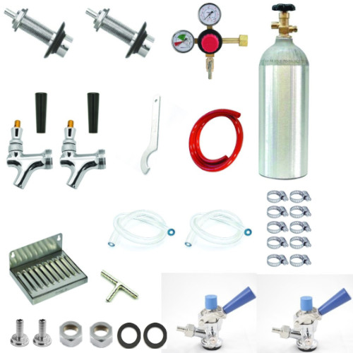 Refrigerator Door Kegerator Conversion Kit with 2 Faucets & Sankey Couplers
