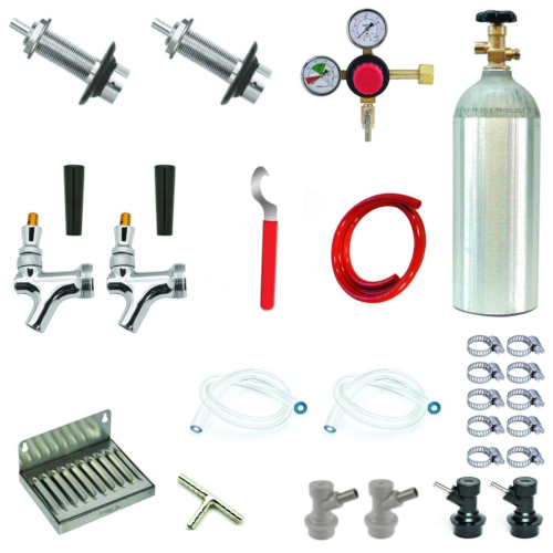 Refrigerator Door Kegerator Conversion Kit - 2 Faucet - Ball Lock