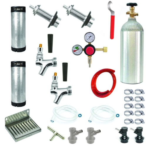 Refrigerator Door Kegerator Conversion Kit - 2 Faucet - Ball Lock With 2 Kegs
