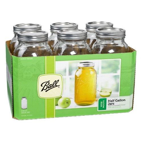 Wide Mouth Ball Mason Jar - 1/2 Gallon - 6 Count