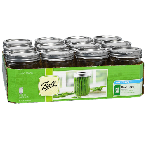 Wide Mouth Ball Mason Jar - Pint (16 oz) - 12 Count