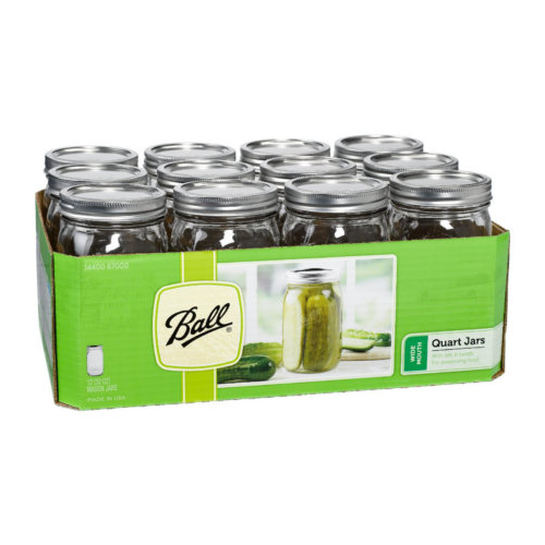 Wide Mouth Ball Mason Jar - Quart (32 oz) - 12 Count