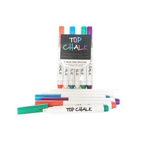 TOP CHALK - LIQUID CHALK MARKERS - 6 PACK