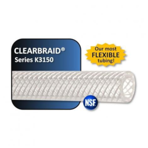 "Clearbraid Reinforced Crystal Clear PVC Tubing - 3/8"" ID - Per Foot"