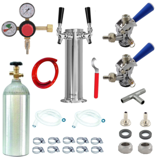 Kegerator Conversion Kit with 2 Faucet Tower & Sankey Couplers