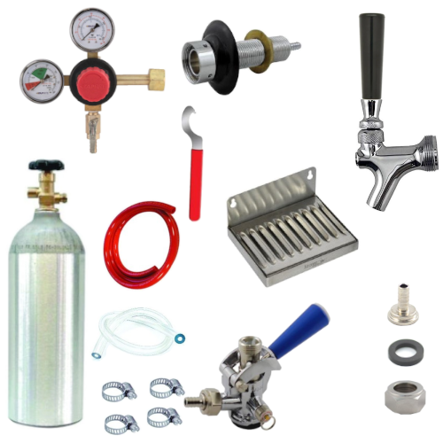 Refrigerator Door Kegerator Conversion Kit with 1 Faucet & Sankey Coupler