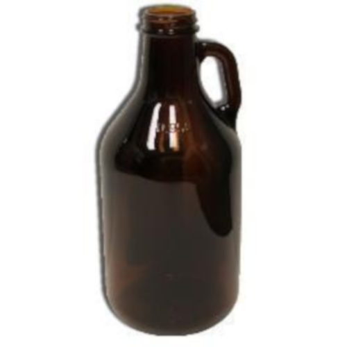 Amber 1/4 Gallon (32 Ounce) Glass Growler - Case of 12