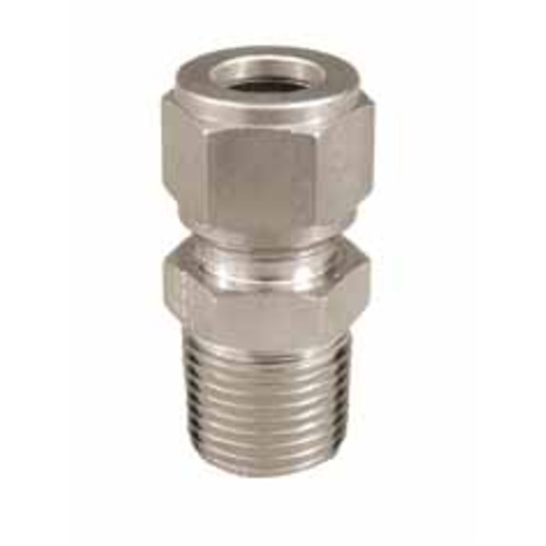 """Stainless Steel Compression Fitting - 1/2"""" Comp x 1/2"""" MPT"""