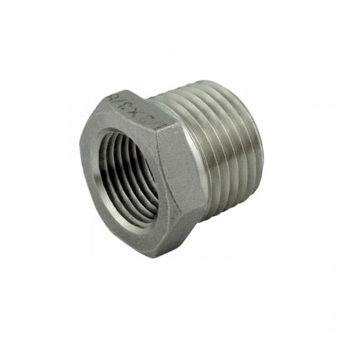 """Stainless Steel Bushing - 1/2"""" MPT x 3/8"""" FPT"""