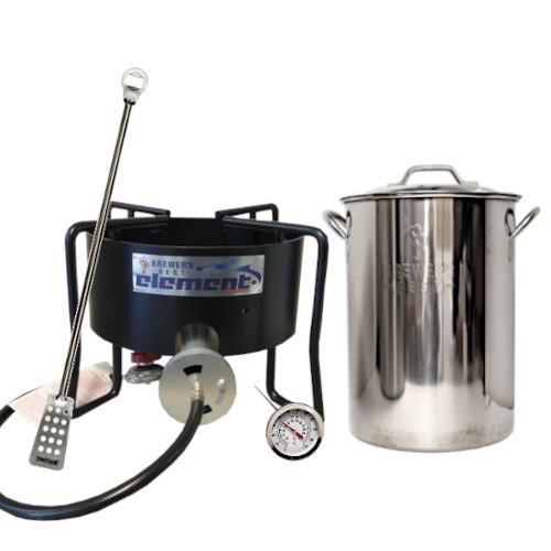 Homebrew Brewing Starter Kit with Element Burner & 8 Gallon Pot