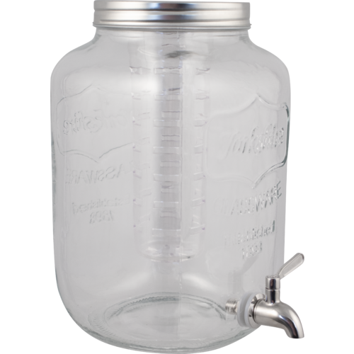 Glass Beverage Dispenser with Infuser and Stainless Spigot - 5L / 1.3 gal.