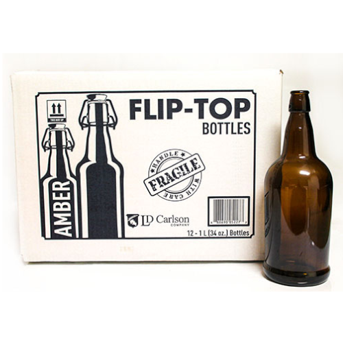 1 Liter Amber Flip Top Bottle - 12/case