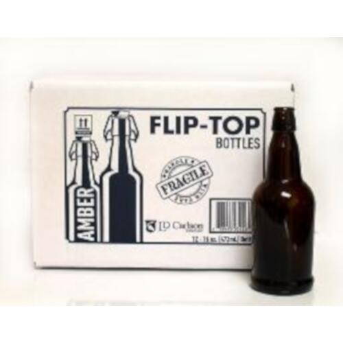 16 oz Amber Flip Top Bottle - 12/Case