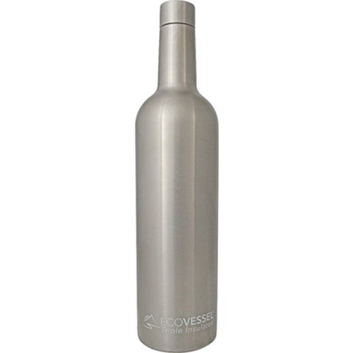 "25oz Wine Growler - Triple Insulated EcoVessel ""The Vine""- Stainless Steel"