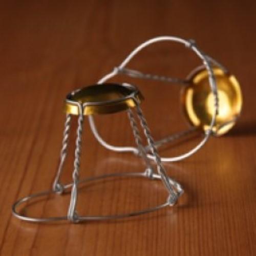 Beer Cork Gold Cap Wirehoods - 60 Count