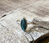 Elegant Marquise Blue Green Labradorite Sterling Silver Solitaire Ring