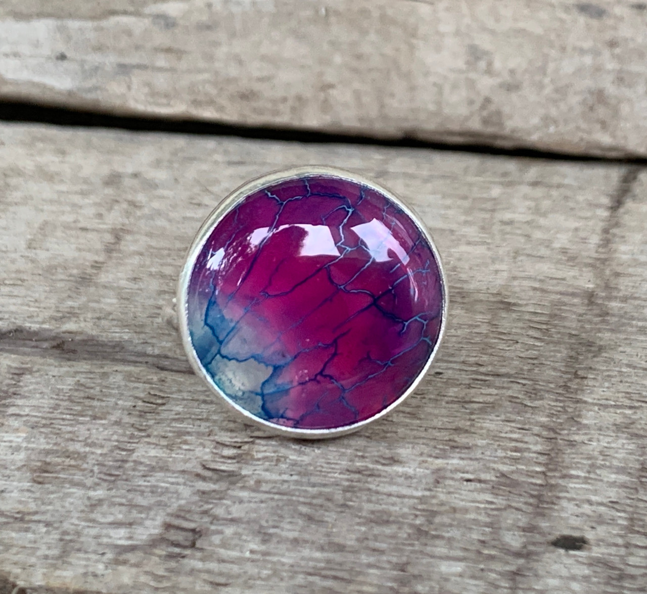 Violet Agate Ring Violet Dragon Vein Agate Ring Violet Agate Jewelry Wire Wrapped Agate Ring Agate Ring Crystal Wire Rings Boho Ring