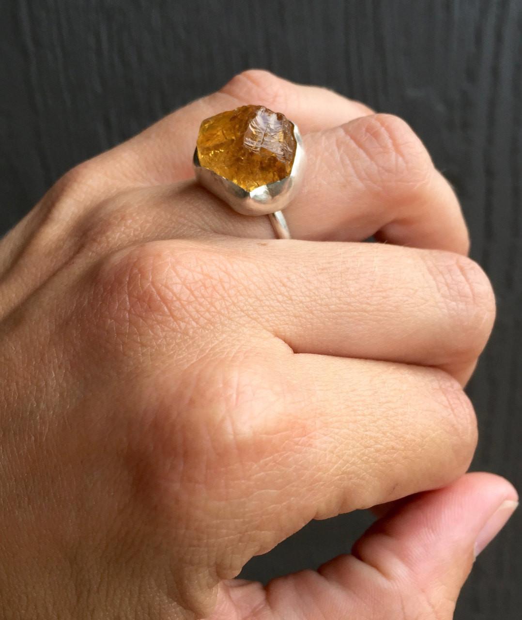 Raw Horizontal Citrine Ring Yellow Gold Large Statement Jewelry Size 6 November Birthstone