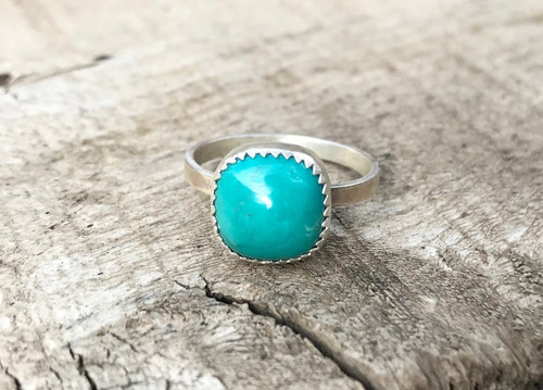 Elegant Cushion Cut Turquoise Serrated Setting Sterling Silver Ring