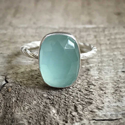 Elegant Rectangle Cushion Cut Aqua Blue Chalcedony Twisted Band Sterling Silver Statement Ring