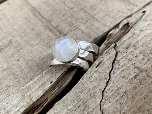 White Faceted Moonstone Sterling Silver Three Band Stacking Ring